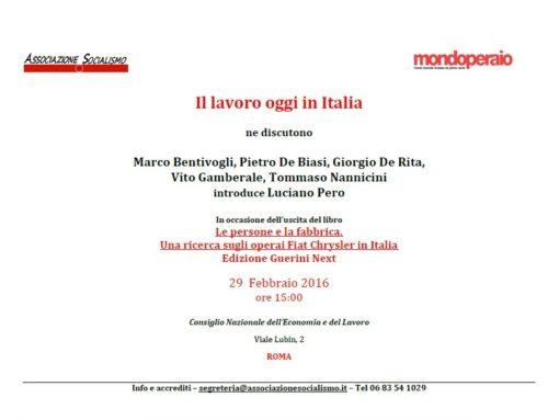 """Presentazione della ricerca """"Il lavoro oggi in Italia"""""""