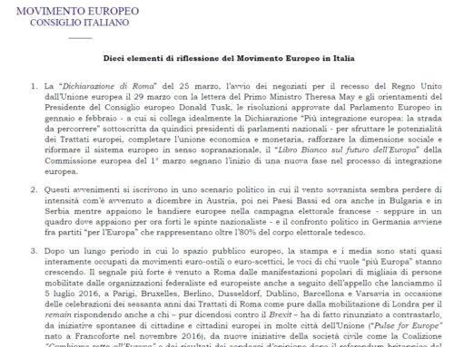 Dieci elementi di riflessione del Movimento Europeo in Italia